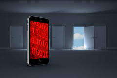 Composite image of binary code on smartphone screen Royalty Free Stock Images