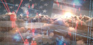 Composite image of binary codes and people icons. Binary codes and people icons against digitally generated image of american flag and clouds Royalty Free Stock Photos