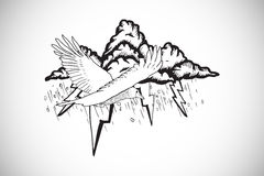 Composite image of bird flying in a storm doodle Stock Photos