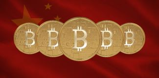Composite image of bitcoin. Bitcoin against close-up of chinese flag Royalty Free Stock Images