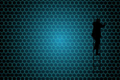 Composite image of black background with shiny hexagons Stock Photos