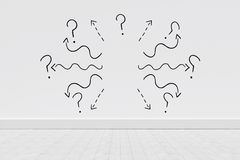 Composite image of black curve line with question mark against white background. Black curve line with question mark against white background against gray Stock Photography