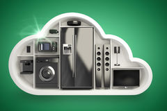 Composite image of black electrical appliance in cloud shape 3d. Black electrical appliance in cloud shape against green vignette 3d Royalty Free Stock Images