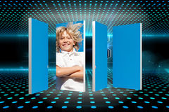 Composite image of blonde boy on abstract screen Royalty Free Stock Photos