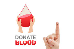 Composite image of blood donation. Blood donation against finger with smiley face Royalty Free Stock Images