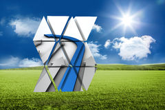 Composite image of blue arrow on abstract screen Stock Images