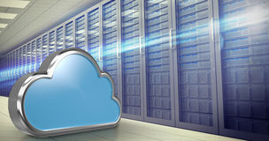 Composite image of blue cloud shape over white background 3d Royalty Free Stock Image