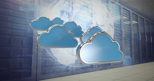 Composite image of blue cloud shapes over white background 3d Stock Photography