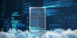 Composite image of blue codes. Blue codes against server tower Royalty Free Stock Photography