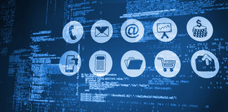 Composite image of blue codes. Blue codes against telephone apps icons Stock Photo
