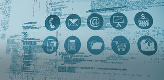 Composite image of blue codes. Blue codes against telephone apps icons Stock Photography