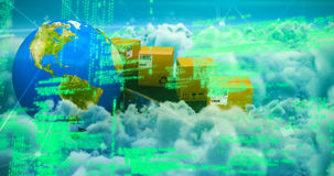 Composite image of blue codes. Blue codes against clouds against blue sky Stock Photo