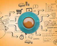 Composite image of blue cup of coffee Royalty Free Stock Images