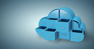 Composite image of blue drawers in cloud shape  3d Royalty Free Stock Images