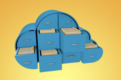 Composite image of blue drawers in cloud shape with folders 3d Royalty Free Stock Photography