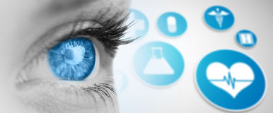 Composite image of blue eye on grey face Royalty Free Stock Photos
