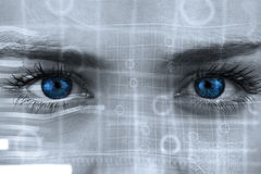 Composite image of blue eyes on grey face Royalty Free Stock Photos