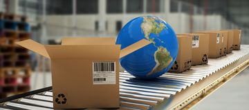 Composite image of blue globe amidst boxes on 3d conveyor belt. Blue globe amidst boxes on 3D conveyor belt against image of a warehouse stock illustration