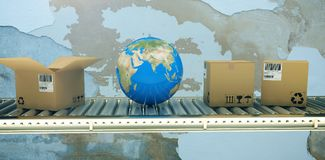 Composite image of blue globe and boxes on 3d conveyor belt royalty free stock photo