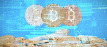 Composite image of blue and grey matrix and codes. Blue and grey matrix and codes against bitcoins Stock Image