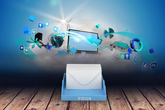 Composite image of blue inbox Stock Photos