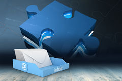 Composite image of blue inbox Stock Image