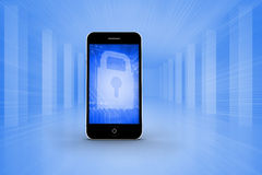 Composite image of blue lock on smartphone screen Stock Photo