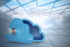 Composite image of blue locker in cloud shape with key 3d Stock Photos
