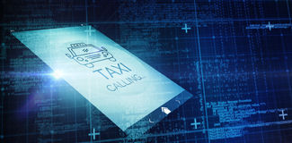 Composite image of blue matrix and codes. Blue matrix and codes against digitally generated image of taxi calling text with icon Stock Photography