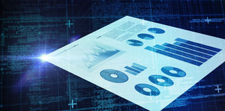 Composite image of blue matrix and codes. Blue matrix and codes against blue graphics on white background Stock Image