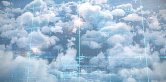 Composite image of blue matrix and codes. Blue matrix and codes against idyllic view of bright sun over cloudscape during sunny day Stock Images