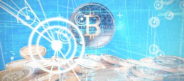 Composite image of blue matrix and codes. Blue matrix and codes against bitcoins Royalty Free Stock Photography