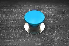 Composite image of blue push button Royalty Free Stock Photography