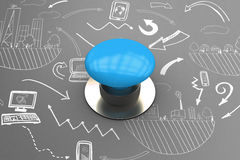 Composite image of blue push button Royalty Free Stock Photos