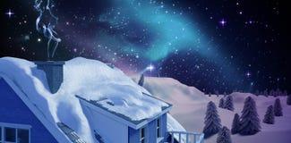 Composite image of blue smoke. Blue smoke against illuminated igloo on snow field vector illustration