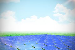Composite image of blue solar panels. Blue solar panels against scenic view of grassy field royalty free illustration