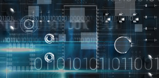 Composite image of blue technology design with binary code. Blue technology design with binary code against close up of circuit board Stock Images