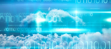 Composite image of blue technology design with binary code. Blue technology design with binary code against close up of clouds Royalty Free Stock Photos