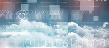 Composite image of blue technology design with binary code. Blue technology design with binary code against idyllic view of cloudscape against sky Royalty Free Stock Photo