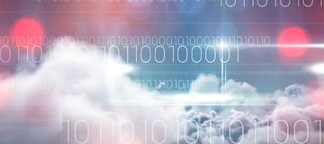 Composite image of blue technology design with binary code. Blue technology design with binary code against idyllic view of white cloudscape against sky Stock Photography