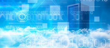 Composite image of blue technology design with binary code. Blue technology design with binary code against server tower Royalty Free Stock Photo