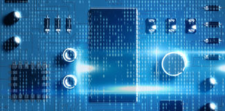 Composite image of blue technology interface with binary code. Blue technology interface with binary code against close up of blue circuit board Royalty Free Stock Photo