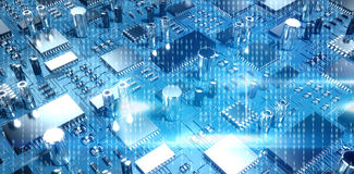 Composite image of blue technology interface with binary code. Blue technology interface with binary code against close up of circuit board Stock Images
