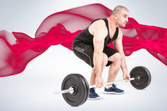 Composite image of bodybuilder lifting heavy barbell weights Stock Photography