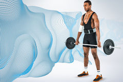 Composite image of bodybuilder lifting heavy barbell weights Stock Photos