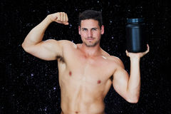 Composite image of bodybuilder with protein powder Royalty Free Stock Photos