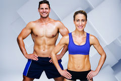 Composite image of bodybuilding couple Stock Photography