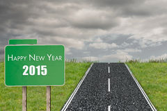 Composite image of 2015 in bold grey. 2015 in bold grey against road on grass vector illustration