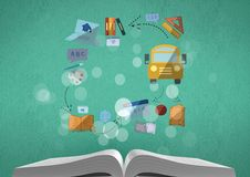 Composite image of book and school drawings. Digital composite of Composite image of book and school drawings Stock Photos