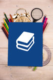 Composite image of books doodle Royalty Free Stock Photos